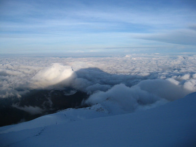The shadow of Cayambe on a great summit morning.