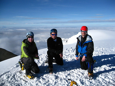 Enjoying the endless views of other Ecuadorian Volcanos on the summit of Cotopaxi.