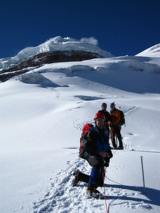 Looking back toward the summit of Cotopaxi after a strong push to the top.