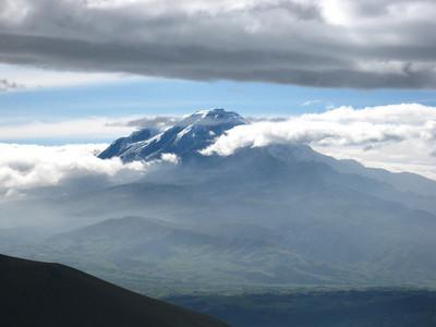 Cayambe rises high above the Ecuadorian countryside.