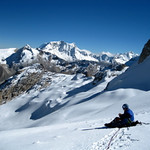 The upper slopes of Ishinca lead great views in the perfect Peruvian weather.