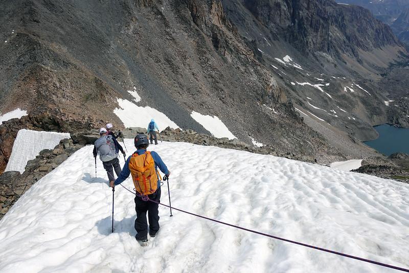 Crossing snow on the East Ridge