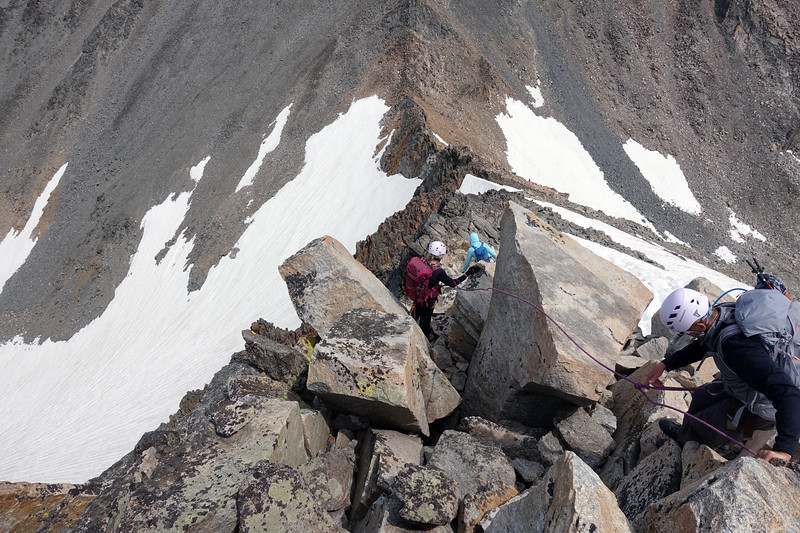 Back down the exposed East Ridge