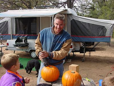 Pumpkin carving with power tools! That's the Navajo way...