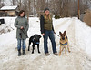 HOLLY PELCZYNSKI - BENNINGTON BANNER Sue Atland and Tara Schatz  stand with their dogs Harry and Gatsby.
