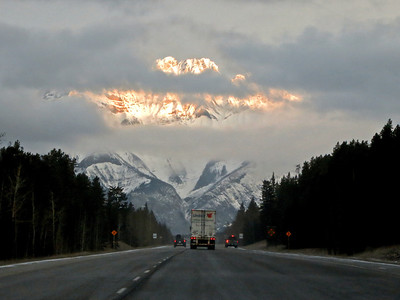 the early morning drive to Lake Louise on Friday with clouds breaking up towards Mt. Cascade