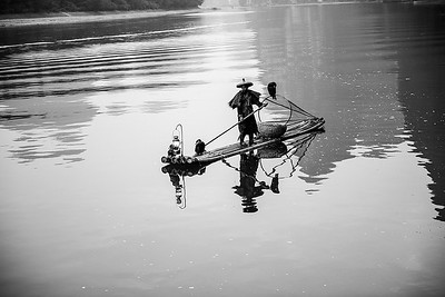 Fishermen in Black and White