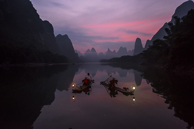 Cormorant Fishermen at Sunrise