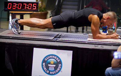 The longest time in an abdominal plank position is 3 hours 7 minutes and 15 seconds and was achieved by George Hood (USA) in Newport, KY, USA on 20 April 2013.   All rights reserved Guinness World Records