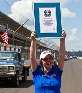 The largest parade of pickup trucks consisted of 386 vehicles and was achieved by RFD-TV and Rural TV (both USA) at the Indianapolis Motor Speedway in Indianapolis, Indiana, USA, on 3 August 2013.  All rights reserved Guinness World Records