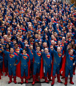 The largest gathering of people dressed as Superman was 867, achieved by Escapade (UK) at Kendal Calling in Lowther Deer Park, Cumbria, UK, on 27 July 2013.  All rights reserved Guinness World Records
