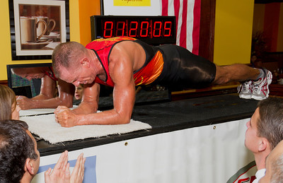 The longest time in an abdominal plank position was 1 hour 20 minutes and 5 seconds, achieved by George Hood (USA) in Newport, KY, USA on 20 April 2013. Record has since been surpassed by George Hood.   All rights reserved Guinness World Records