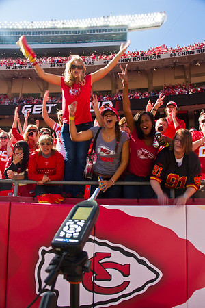 The loudest crowd noise at a sports stadium (outdoor) is 137.5 decibels achieved by fans of the Kansas City Chiefs (USA) at Arrowhead Stadium in Kansas City, Missouri, USA on 13 October 2013. Since surpassed by the Seattle Seahawks.  All rights reserved Guinness World Records