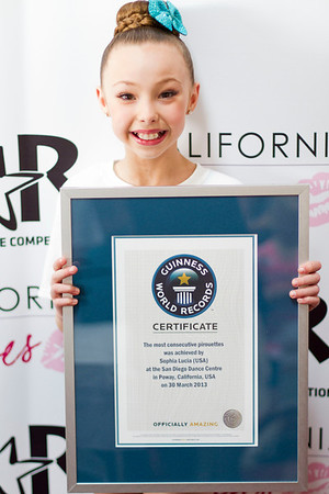 The record for the most consecutive pirouettes was achieved by Sophia Lucia (USA) completing 55 pirouettes at the San Diego Dance Center in Poway, California, USA on 30 March 2013.   All rights reserved Guinness World Records