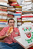 The largest collection of pizza boxes belongs to Scott Wiener (USA) and consists of 595 different boxes as of 23 October 2013, in New York City, New York, USA.<br /> <br /> All rights reserved Guinness World Records