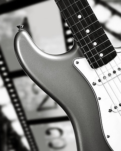Fender Strat Guitar in Black and White 206.2110A