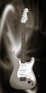 Fender Strat Guitar in Black and White 203.2110A