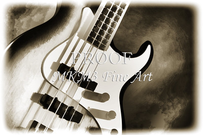 Electric Bass Guitar Image iin Sepia 3320.01