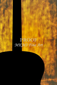 Silhouette Guitar Image on Yellow 1745.004