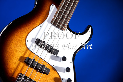 Electric Bass Guitar Image on Blue 3322.02