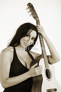 200.1855 Guitar Model in Black and White Photograph