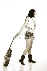 213.1855 Guitar Model in Black and White Photograph