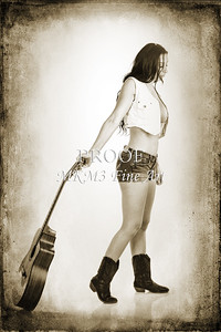 214.1855 Guitar Model in Black and White Photograph