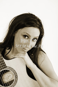 206.1855 Guitar Model in Black and White Photograph