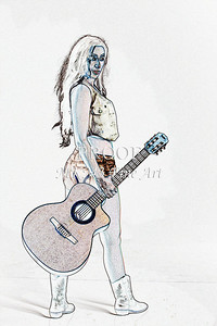 309.1855 Guitar Model Watercolor