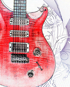 Watercolor of Paul Reed Smith Guitar 305.2110