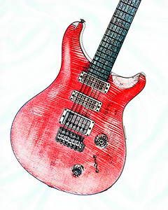 Watercolor of Paul Reed Smith Guitar 304.2110