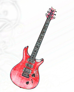 Watercolor of Paul Reed Smith Guitar 303.2110
