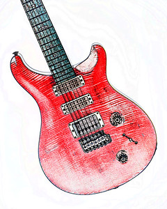 Watercolor of Paul Reed Smith Guitar 321.2110