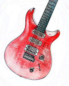Watercolor of Paul Reed Smith Guitar 320.2110