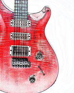 Watercolor of Paul Reed Smith Guitar 322.2110