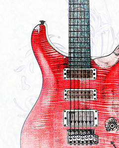 Watercolor of Paul Reed Smith Guitar 306.2110