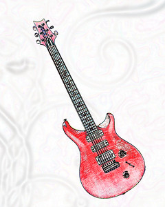 Watercolor of Paul Reed Smith Guitar 301.2110