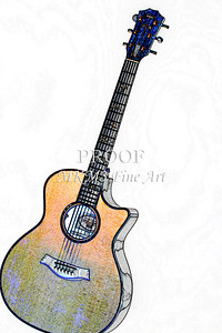 306.1837 Taylor 914C Guitar Watercolor