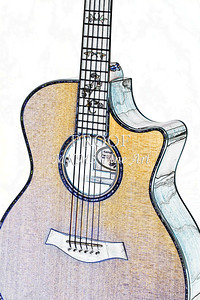 311.1837 Taylor 914C Guitar Watercolor
