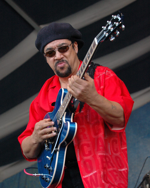 Leo Nocentelli performs with the Original Meters at the New Orleans Jazz & Heritage Festival on April 23, 2005.