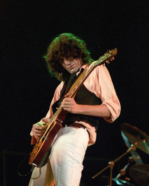 Jimmy Page performing at the A.R.M.S. benefit concert at the Cow Palace in San Francisco on December 3, 1983.