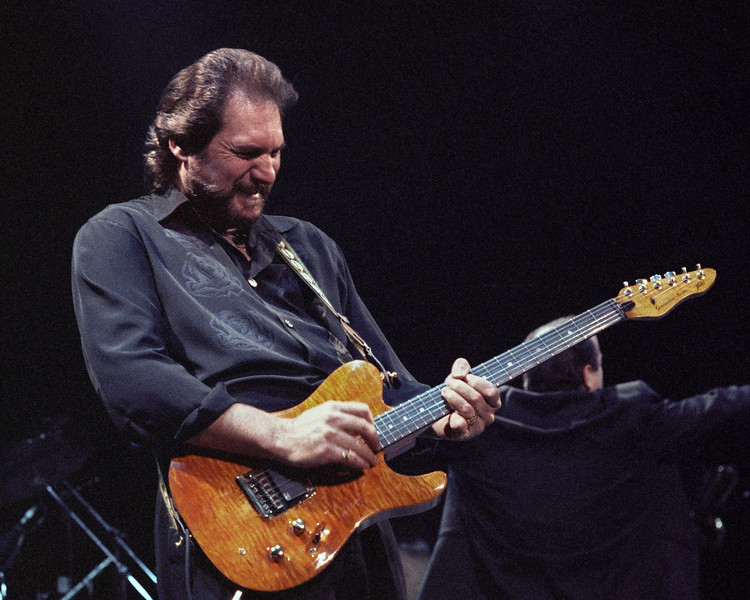 Steve Cropper performing live onstage with Dave Edmunds R&R Revue at the Warfield Theater in San Francisco on April 7, 1990.