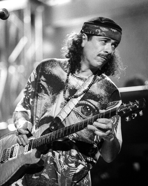 Carlos Santana performs at the Bay Area Music Awards (BAMMIES) held at the Bill Graham Civic Center on March 6, 1991.