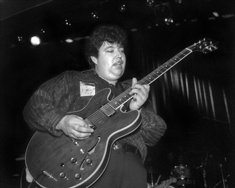 OAKLAND, CA-AUGUST 15: Hollywood Fats (aka Michael Mann) performs with The Blasters at the Omni in Oakland, CA on August 15, 1986. (Photo by Clayton Call/Redferns)