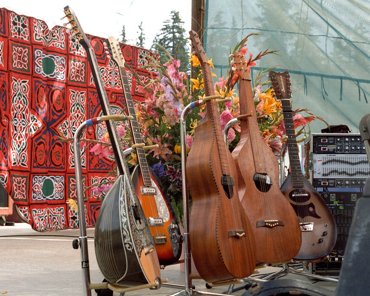David Lindley's guitars at the Electric on the Eel concert with Ry Cooder in Piercy, CA on August 25, 1990.