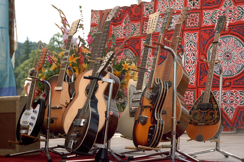 Ry Cooder's guitars at the Electric on the Eel concert in Piercy, CA on August 25, 1990.