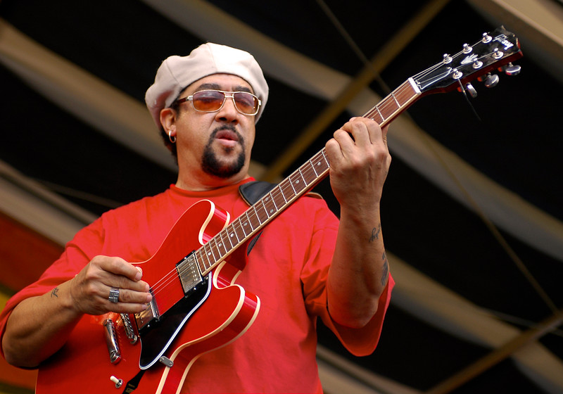 Leo Nocentelli performs with Leo Nocentelli's Rare Funk Gathering on the Congo Square stage at the New Orleans Jazz & Heritage Festival on April 25, 2008.