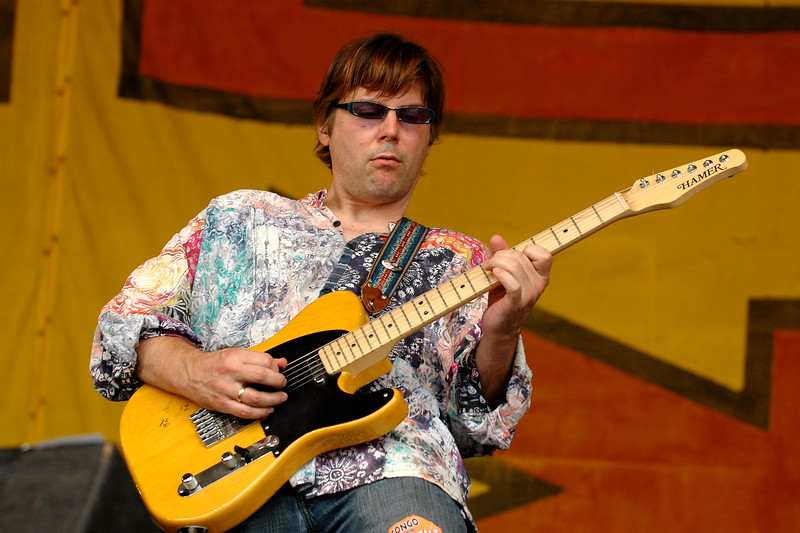 """Shane Theriot performing live with """"Zigaboo"""" Modeliste at the New Orleans Jazz & Heritage Festiavl on May 2, 2008."""