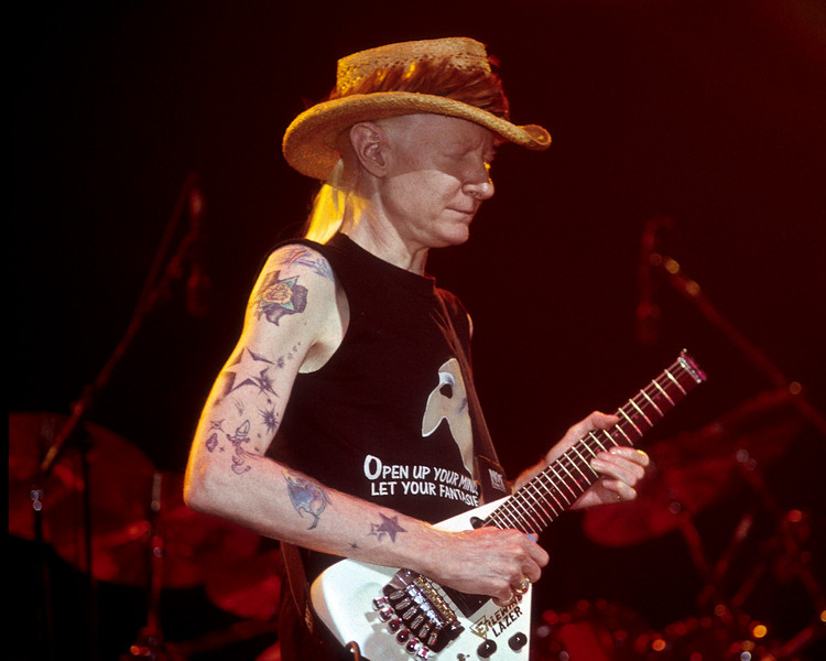 Johnny Winter performs at the Warfield Theater in San Francisco on September 22, 1990.