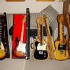 (Left to right): Gibson Custom Shop Historic Dickie Betts Les Paul, 1974 Fender Stratocaster, Fender Custom Shop '63 Telecaster Reissue, Bill Nash '54 Telecaster